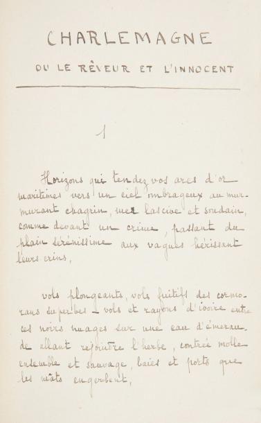 Paul FORT. Manuscrit autographe, Hélène en...