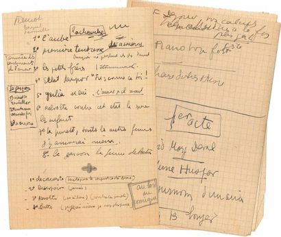 Jean ANOUILH. 2 tapuscrits, notes autographes...