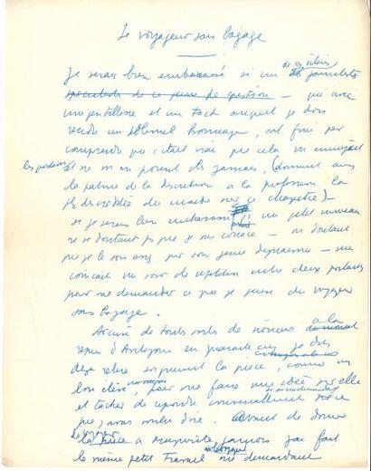 Jean ANOUILH. 2 tapuscrits, notes autographes et manuscrit autographe signé, Le...