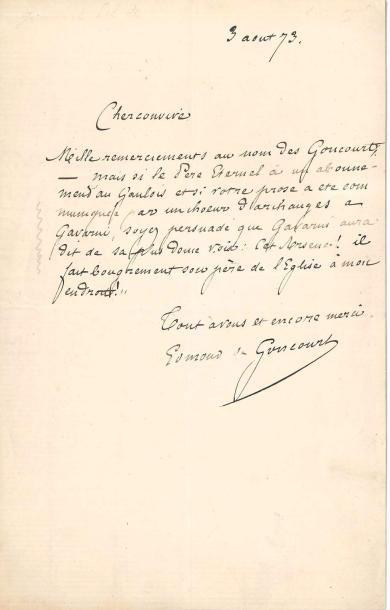 Edmond de GONCOURT (1822-1896). 2 L.A.S.,...