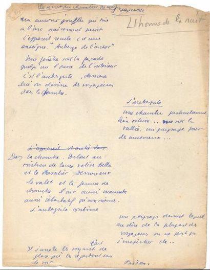 Jean ANOUILH. Manuscrit autographe, L'Homme...