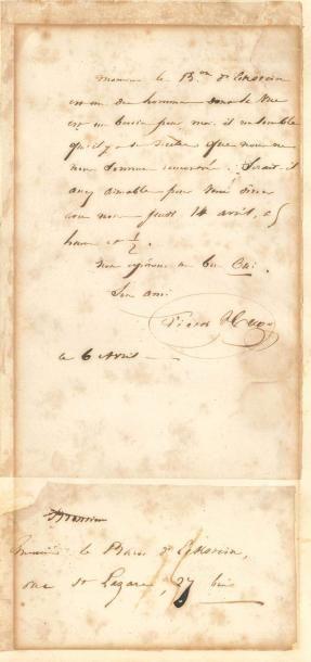 Victor HUGO (1802-1885). L.A.S., 6 avril...