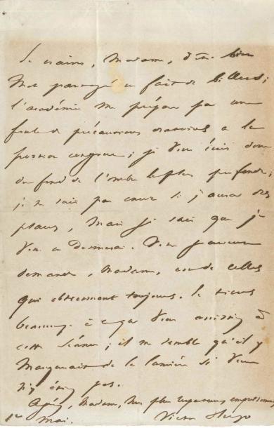 Victor HUGO. L.A.S., 1er mai [1841], à Anaïs...