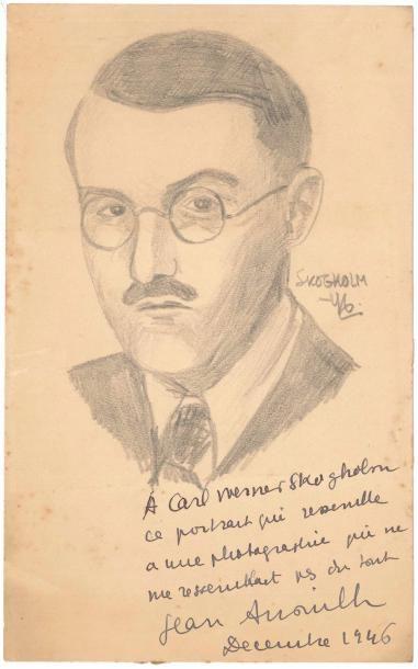 Jean ANOUILH. Portrait avec dédicace autographe...
