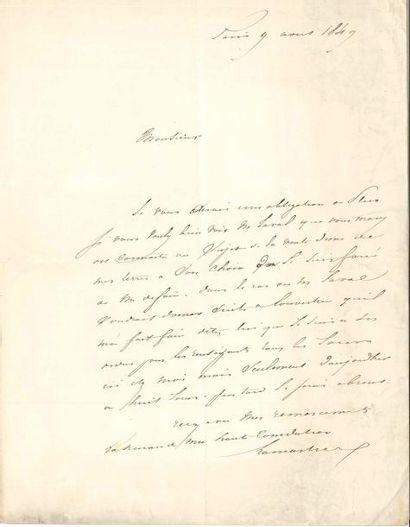 Alphonse de LAMARTINE. L.A.S., Paris 9 août...