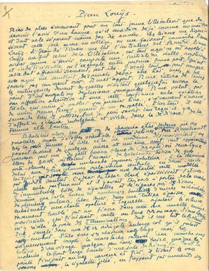 André LEBEY (1877-1938). Manuscrit autographe...