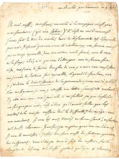 Julie de LESPINASSE (1732-1776). Lettre écrite...