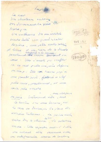 Jean ANOUILH. Manuscrit autographe, [Pattes...