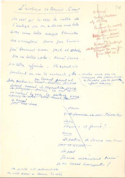 Jean ANOUILH. Manuscrit autographe, [Pattes blanches, 1948]; 215 feuillets petit...