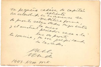 Pablo NERUDA (1904-1973). Poème autographe...