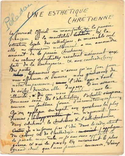 Joséphin PÉLADAN (1859-1918) le Sâr. Manuscrit...