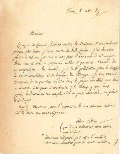 Silvio PELLICO (1789-1854). L.A.S., Turin...