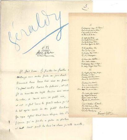 Poèmes. 8 manuscrits autographes signés (un...