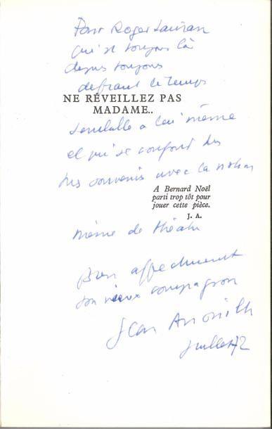 Jean ANOUILH. 7 volumes avec dédicaces autographes...