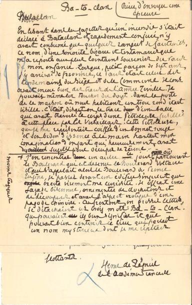 Henri de RÉGNIER. 3 manuscrits autographes...