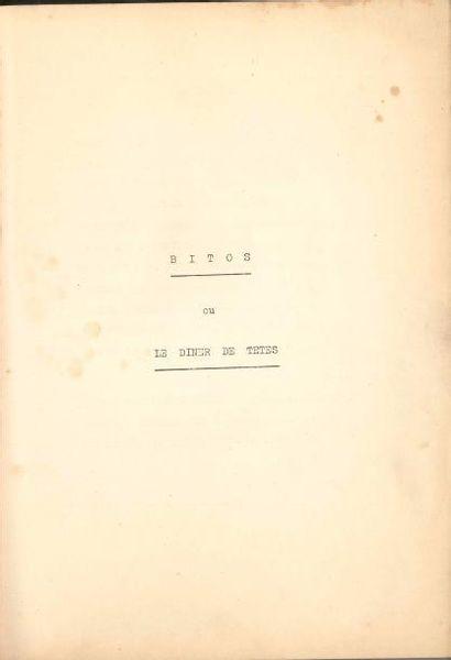 Jean ANOUILH. Bitos ou Le Dîner de têtes, [1956]; dactylogramme ronéoté, in-4 de...