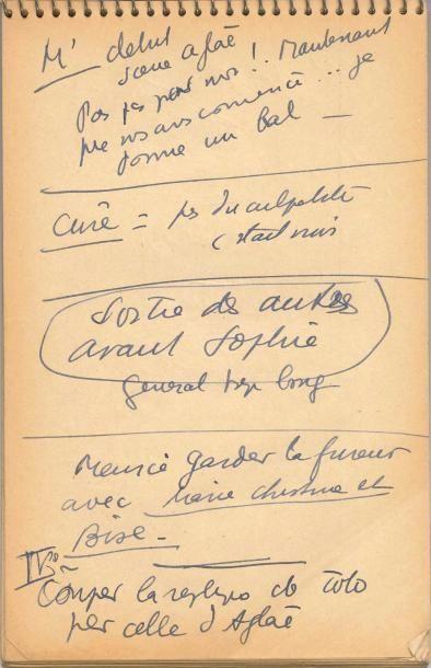 Jean ANOUILH. Carnet autographe de notes pour L'Hurluberlu, [1959]; bloc Steno...