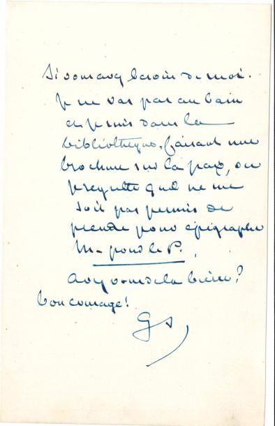 George SAND. L.A.S. «GS», [Nohant 21 juillet...