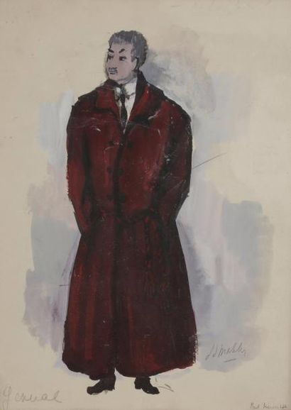 [Jean ANOUILH]. Jean-Denis MALCLÈS (1912-2002). Maquette originale signée pour L'Hurluberlu...