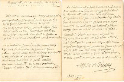 Alfred de VIGNY (1796-1863). Poème autographe...