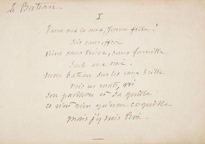 Alfred de VIGNY. Poème autographe signé,...