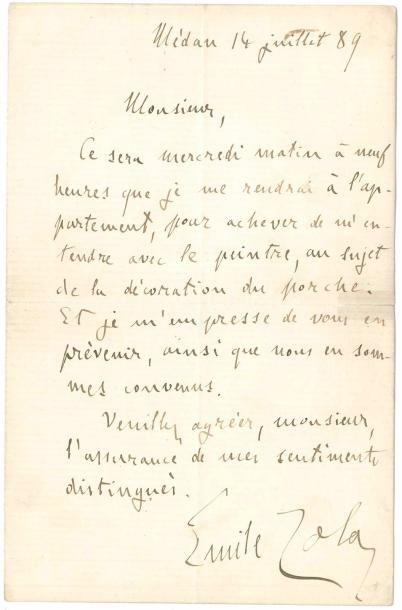 Émile ZOLA (1840-1902). L.A.S., Médan 14...