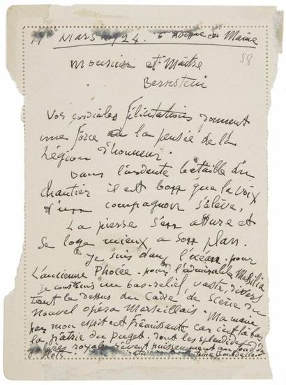 Antoine BOURDELLE(1861-1929). 2 L.A.S., Paris...