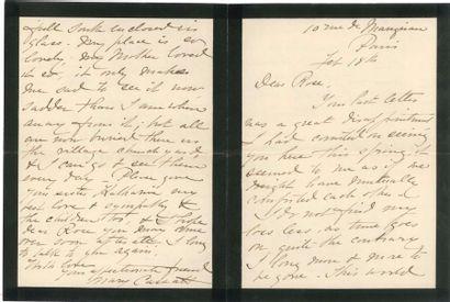 Mary CASSATT (1844-1926). L.A.S., Paris 18...