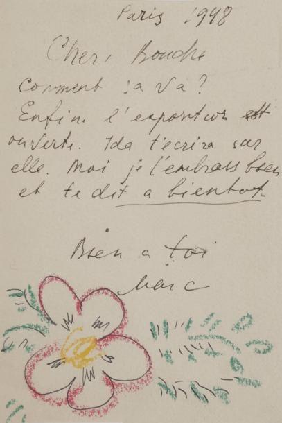 Marc CHAGALL. L.A.S. «Marc» avec dessin,...