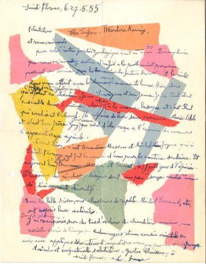 Gaston CHAISSAC. L.A.S. avec collages, Sainte-Florence...