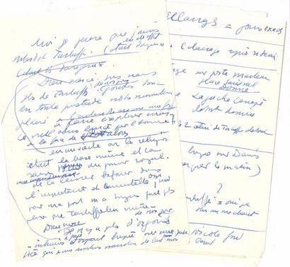 Jean ANOUILH. Manuscrit et notes autographes...