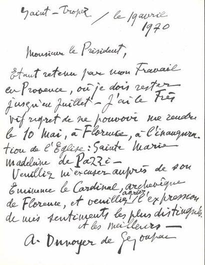 André DUNOYER DE SEGONZAC (1884-1974). L.A.S.,...