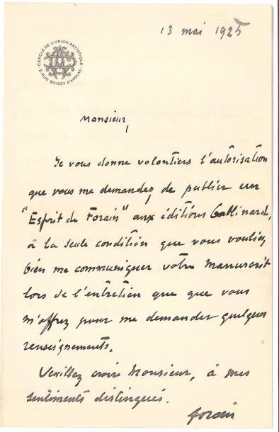 Jean-Louis FORAIN (1852-1931). L.A.S., 13...