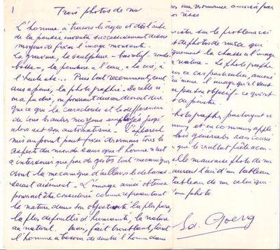 Édouard GOERG (1893-1969). Manuscrit autographe...