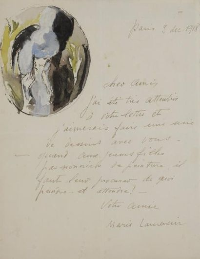 Marie LAURENCIN (1883-1956). L.A.S. avec...