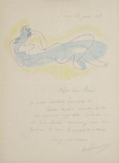 Henri LAURENS (1885-1954). L.A.S. avec dessin,...