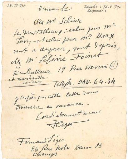 Fernand LÉGER (1881-1955). L.A.S., Dimanche...