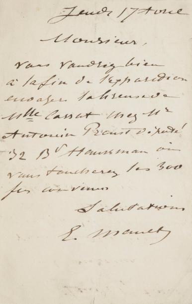 Édouard MANET (1832-1883). L.A.S., Jeudi...