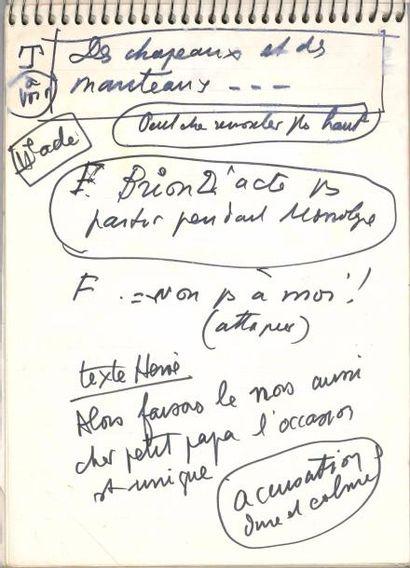 Jean ANOUILH. Carnet autographe de notes...