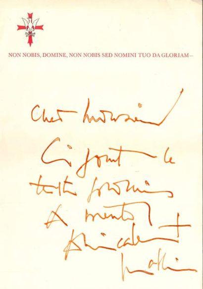 Georges MATHIEU (1921-2012). L.A.S.; 1 page...