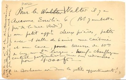 Henri MATISSE. L.A., [à Marguerite Steinlen];...