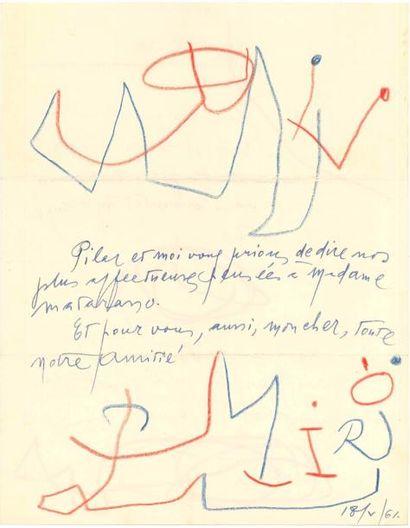 Joan MIRÓ (1893-1983). L.A.S. avec dessins,...
