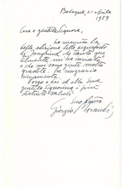 Giorgio MORANDI (1890-1964). 3 L.A.S., Bologne...