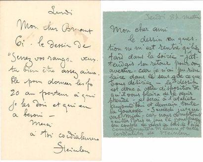 Théophile Alexandre STEINLEN. 2 L.A.S., [1906]...