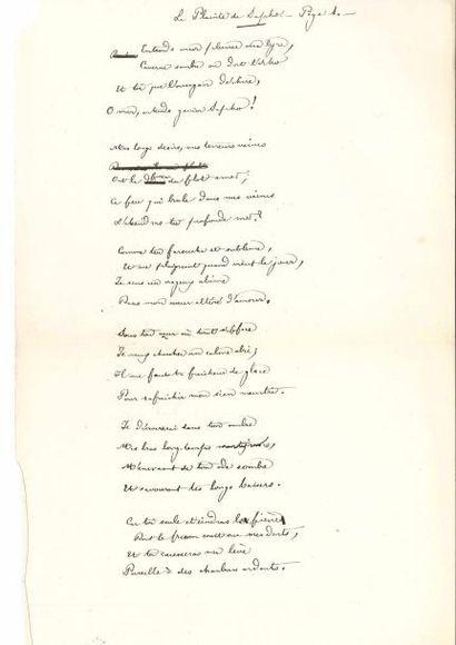 Théodore de BANVILLE. Poème autographe signé,...