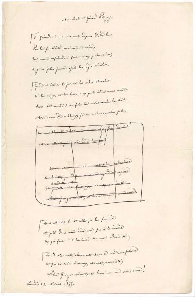 Théodore de BANVILLE. Poème autographe, Au...