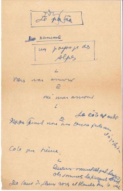 Jean ANOUILH (1910-1987). Manuscrit autographe,...