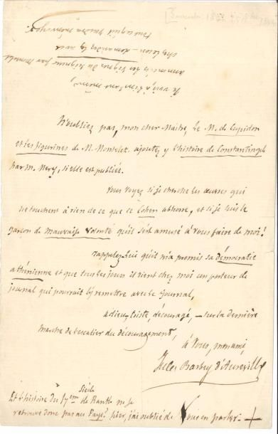 Jules BARBEY D'AUREVILLY (1808-1889). 2 L.A.S.,...