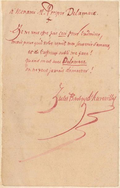 Jules BARBEY D'AUREVILLY. Poème autographe...