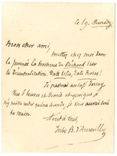 Jules BARBEY D'AUREVILLY. L.A.S., mercredi...